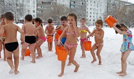 Закаливание детей зимой