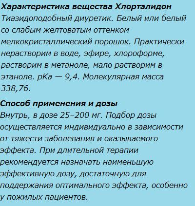 Характеристика вещества Хлорталидон