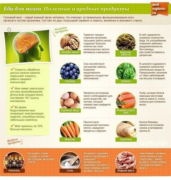 Полезные и вредные продукты для мозга