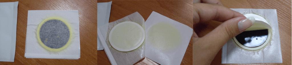Распечатываем пластырь и удаляем защитный слой