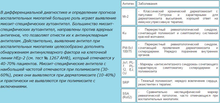 Характеристика антигенов панели миозит-специфических антител.