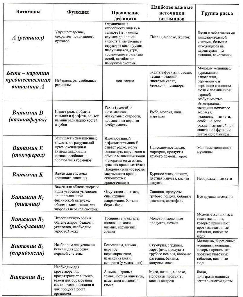 Основные витамины, их роль в жизнедеятельности организма