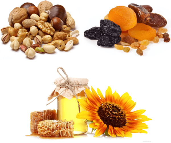 Орехи,  сухофрукты и мед относятся к группе повышенной аллергенности