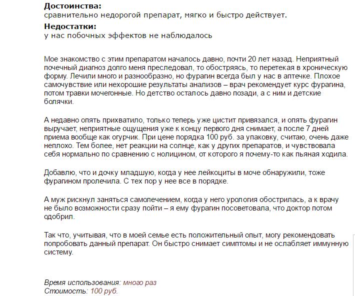 Отзыв о препарате Фурагин