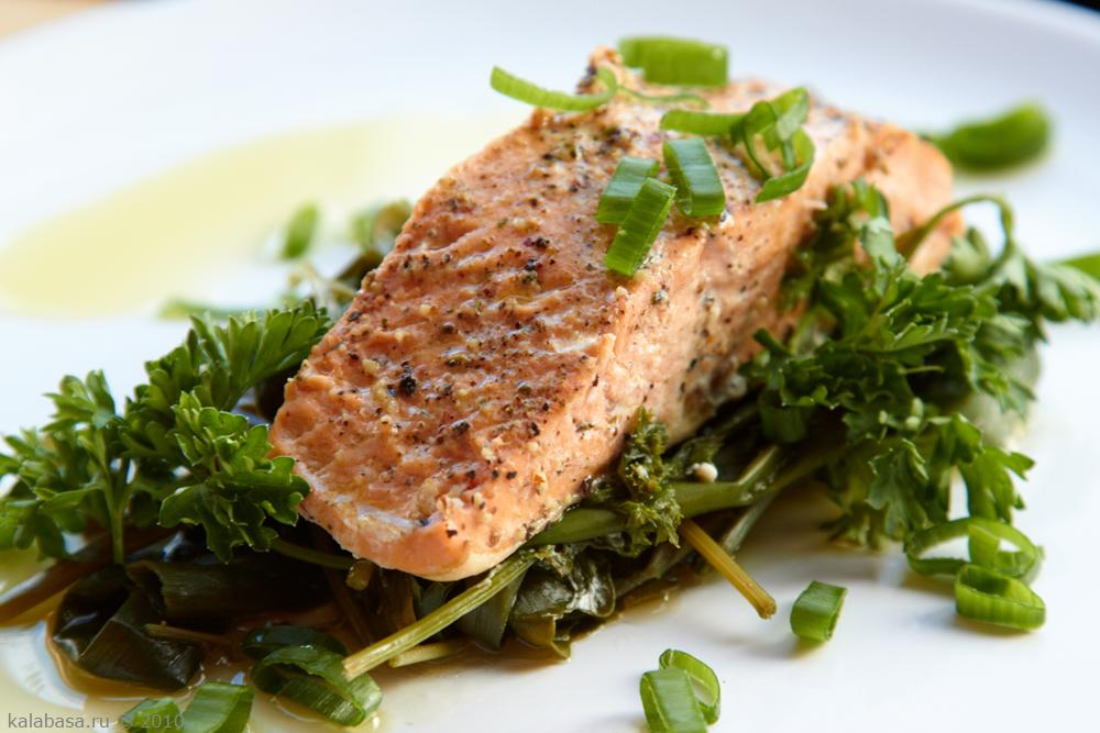 Рыба на пару с зеленью