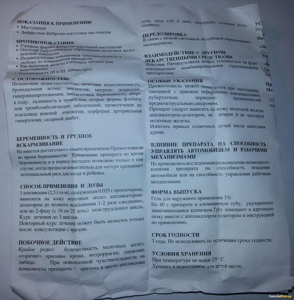 Гель Прожестожель для лечения мастопатии. Инструкция