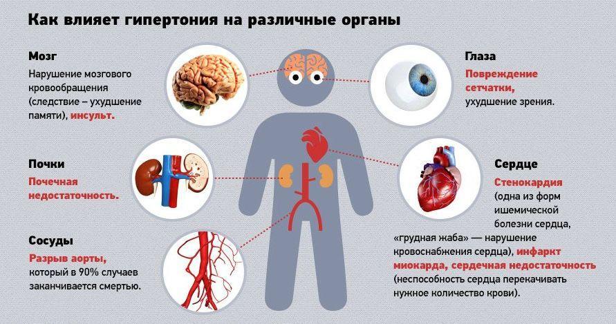Влияние гипертонии на различные органы