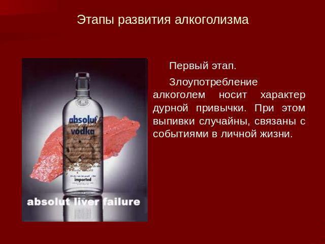 Первый этап развития алкоголизма
