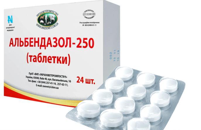 Альбендазол в таблетках