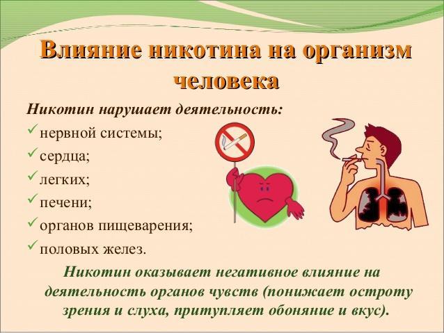 Влияние никотина на организм человека