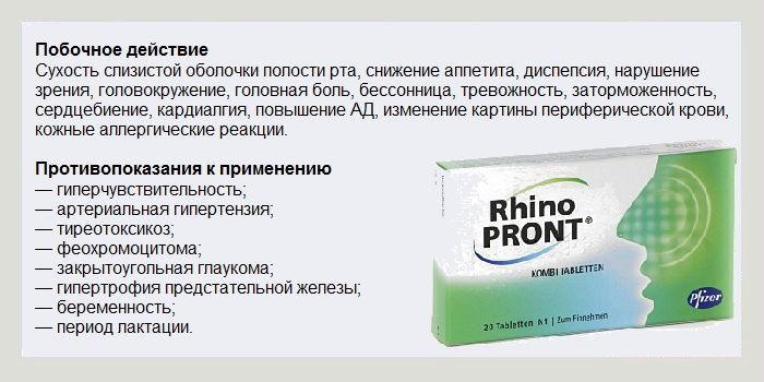 Побочные действия препарата Ринопронт