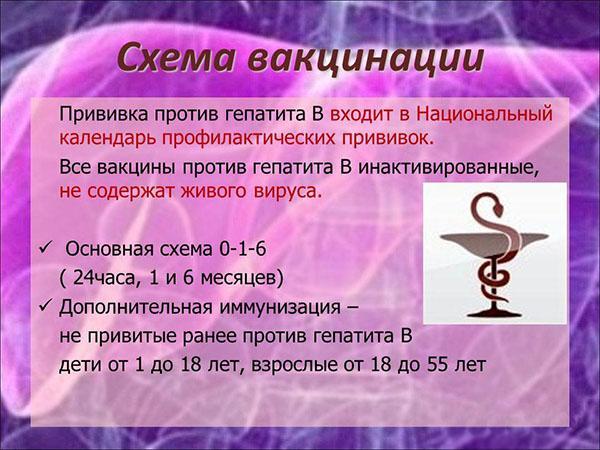 Схема вакцинации от гепатита В