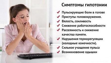 Признаки и симптомы пониженного давления