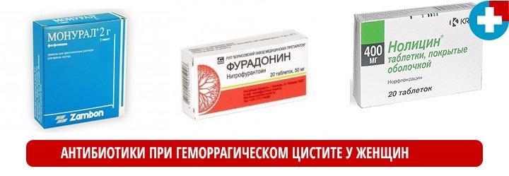 Антибиотики при геморрагическом цистите у женщин