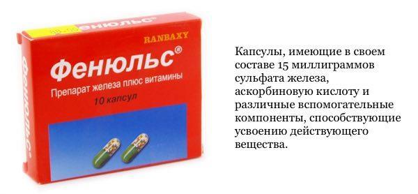 Применяется Фенюльс 100 в лечении железодефицитной анемии