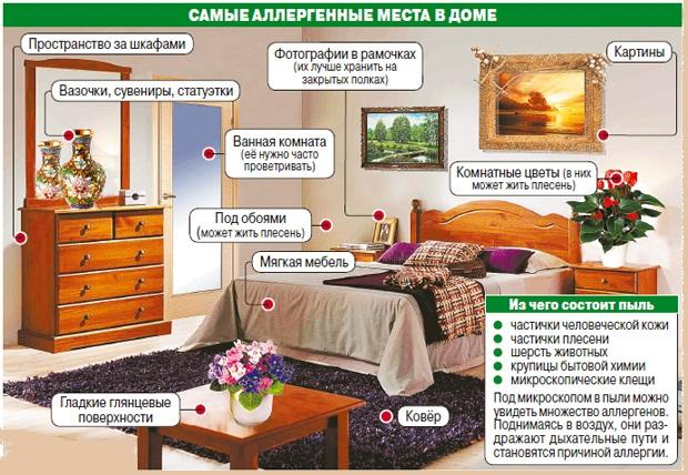 Самые аллергенные места в доме