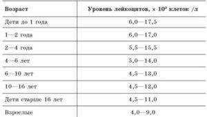 Норма лейкоцитов в крови зависимости от возраста
