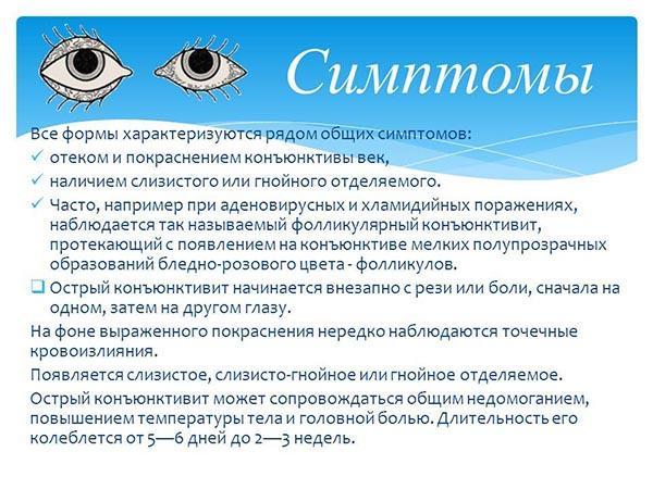 Общие симптомы конъюнктивита