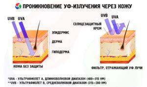 Проникновение УФ-излучения через кожу