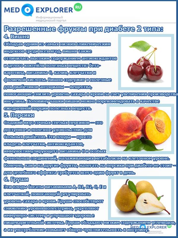 Употребление фруктов при сахарном диабете 2 типа