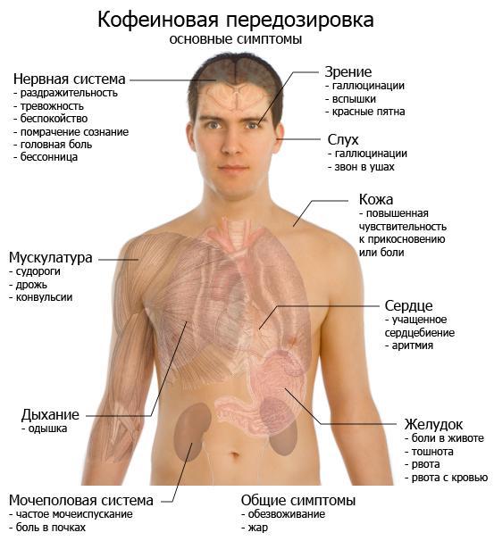 Симптомы кофеиновой передозировки