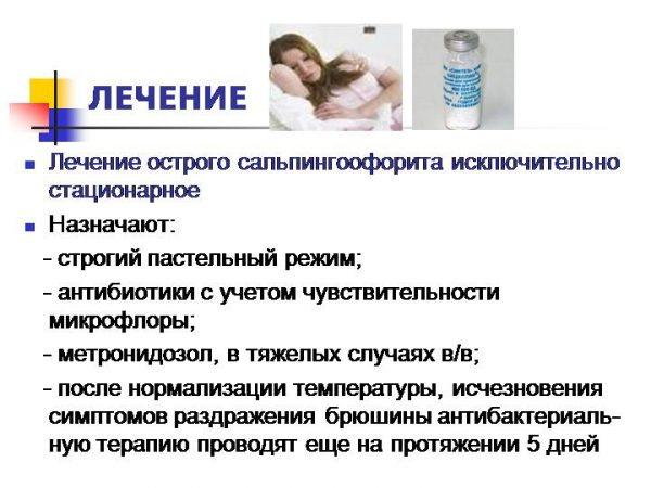 Лечение острого сальпингоофорита