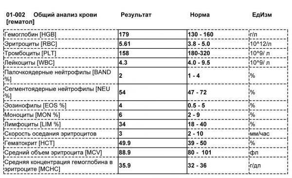 Пример результатов общего анализа крови