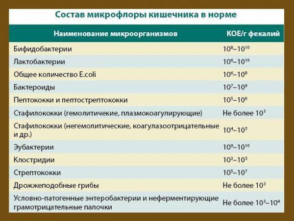 Норма анализа на дисбактериоз
