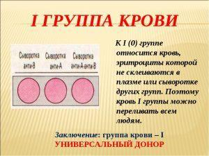 Описание первой группы крови