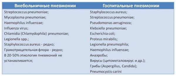 Возбудители пневмонии (воспаления легких)
