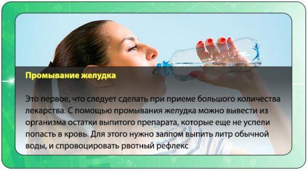 Желудок промывают большим объемом воды