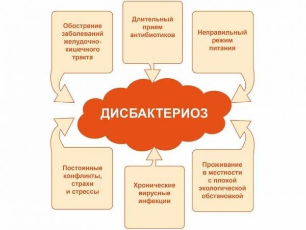 Основные причины, способствующие развитию дисбактериоза