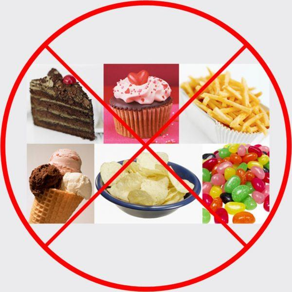 Вредные продукты следует полностью исключить