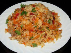 Плов из курицы с коричневым рисом