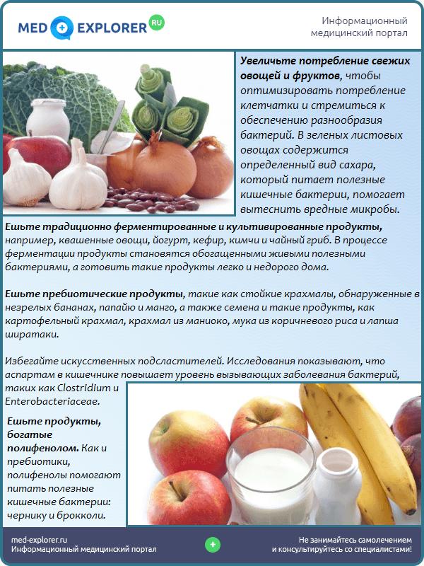 Правильное питание для здоровой микрофлоры кишечника
