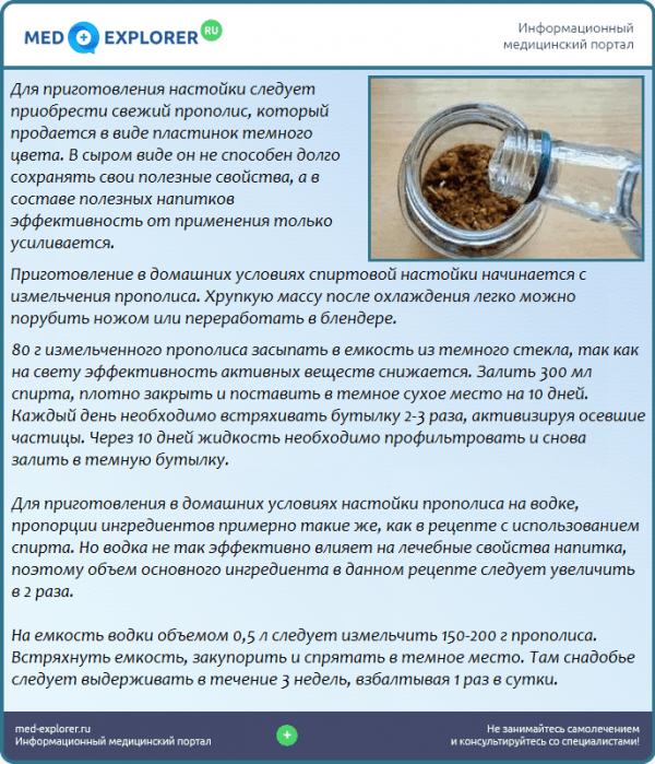 Настойка прополиса на водке: приготовление в домашних условиях