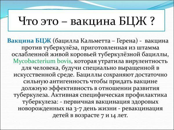 Вакцина БЦЖ (бацилла Кальметта – Герена)