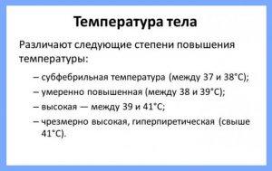 Степени повышения температуры тела