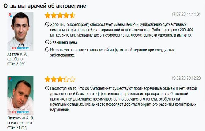 Отзывы о препарате Актовегин