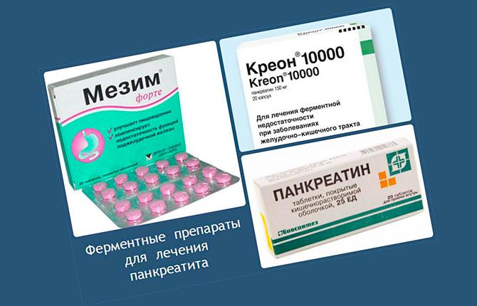 Препараты поджелудочной Мезим и Креон