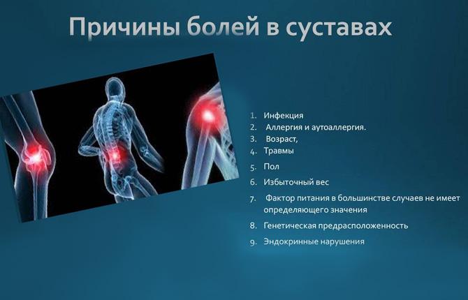 Причины болезненных ощущений в суставах