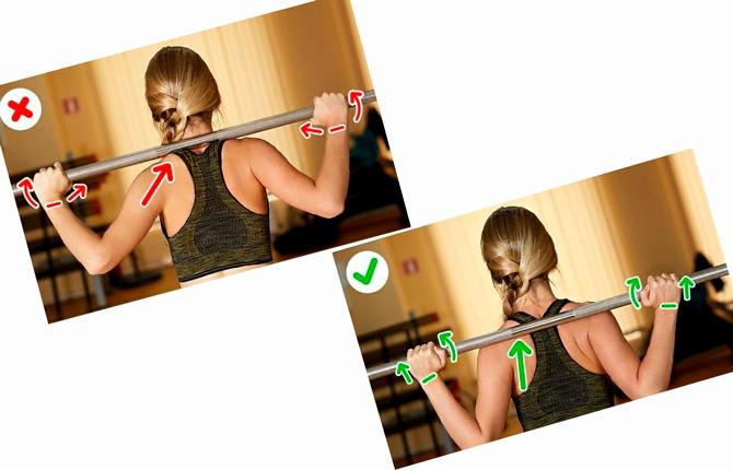 Положение грифа на спине при занятии спортом