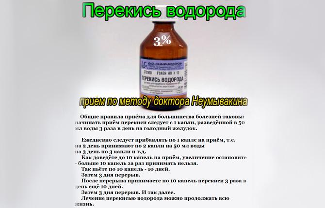 Прием перекиси водорода по методу доктора Неумывакина
